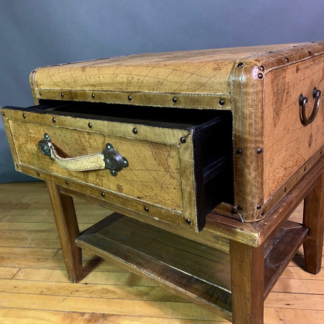 Leather Travel Suitcase Storage Box on Frame, 20th Century For Sale - Image 4 of 12