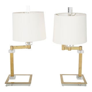 Mid-Century Italian Lucite and Brass Adjustable Swing Lamps - a Pair For Sale