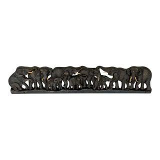 Midcentury Carved Teakwood 9 Elephant Panel For Sale