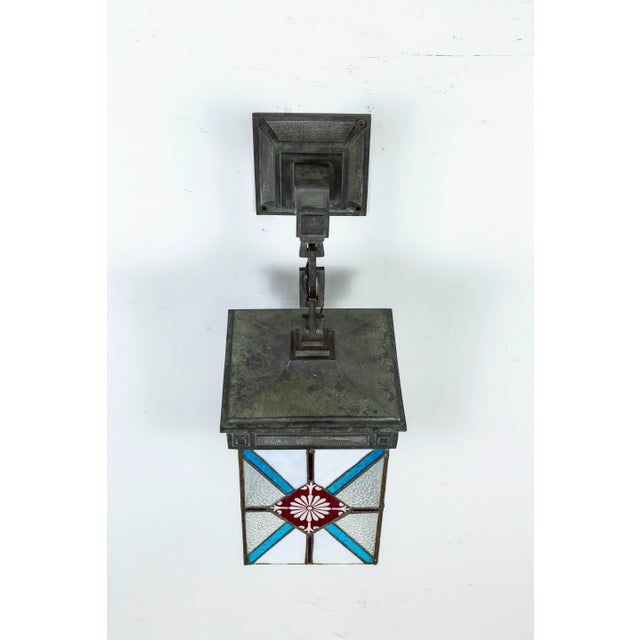 White Blue, White & Deep Red Stained Glass & Bronze Lantern Sconce For Sale - Image 8 of 12