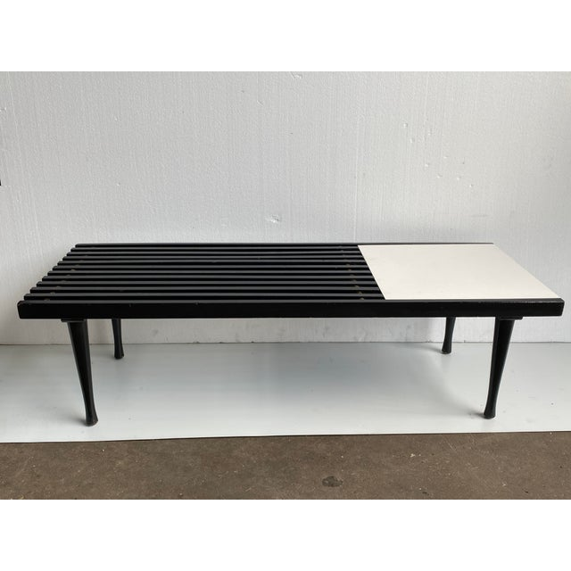Mid-Century Modern 1960s Mid-Century Modern Black White Slat Bench Table For Sale - Image 3 of 10
