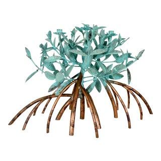 Vintage Copper Mangrove Three Candle Verdigris Candelabra, Sculpture For Sale