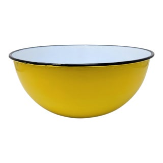 Vintage Otto Japanese Yellow Enameled Metal Bowl For Sale