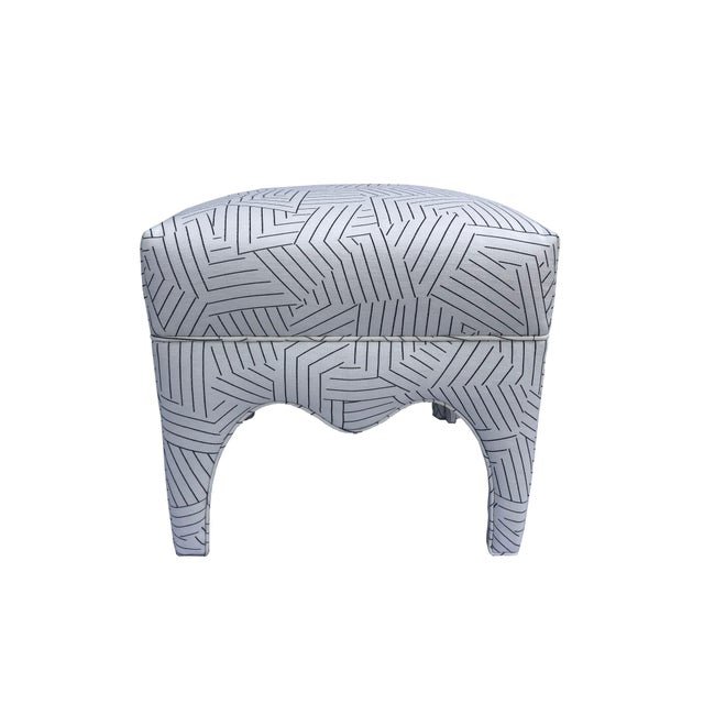 White Vintage Square Upholstered Ottoman For Sale - Image 8 of 8