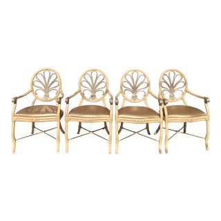 Vintage Rattan Glam Chairs- Set of 4 For Sale
