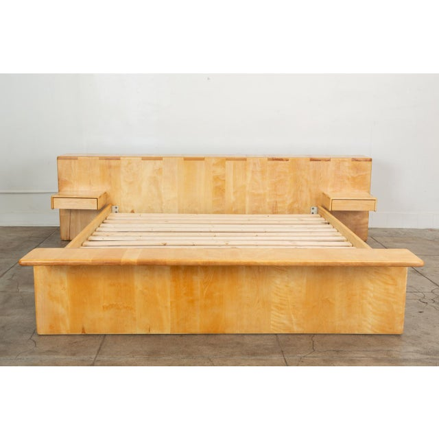 Mid-Century Modern Maple Platform California King Bed With Floating Nightstands by Gerald McCabe For Sale - Image 3 of 13