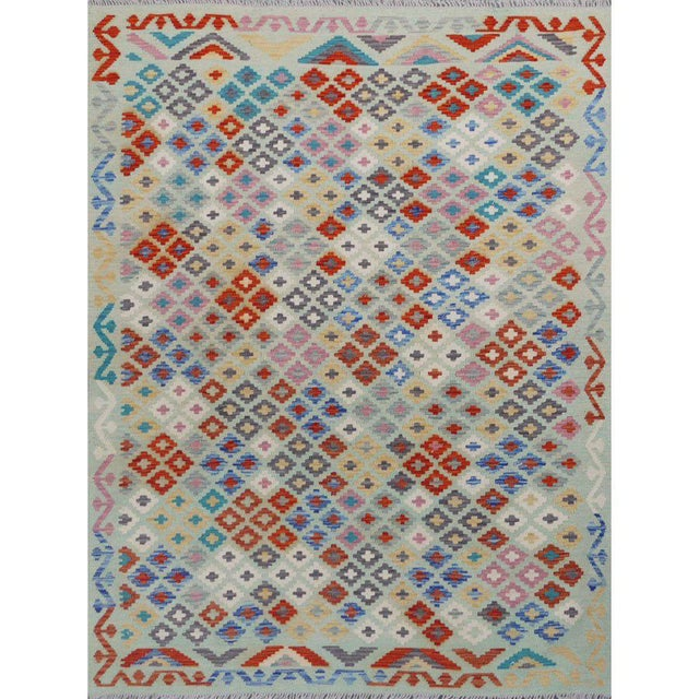 5'10 x 7'5 Beige handwoven all wool colorful reversible kilim carpet made in Pakistan