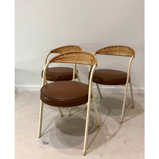 Boho Chic 1960s Vintage Arthur Umanoff for Shaver Howard Painted Wrought Iron and Rattan Dining Chairs- Set of 3 For Sale - Image 3 of 13
