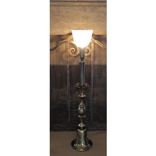 1960's Frederick Cooper Torchiere Antiqued Brass Table Lamp With Silk Shade Hollywood Regency Preview
