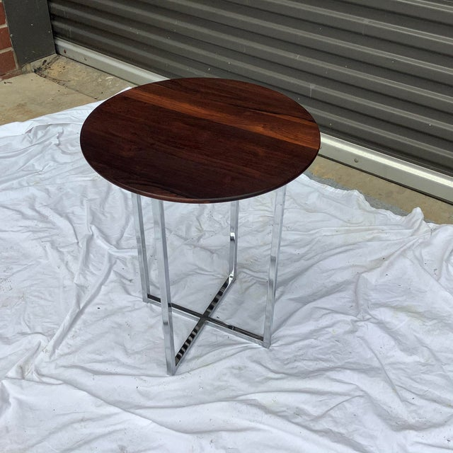 Burnt Umber Midcentury Modern Rosewood & Chrome Drinks Table For Sale - Image 8 of 11
