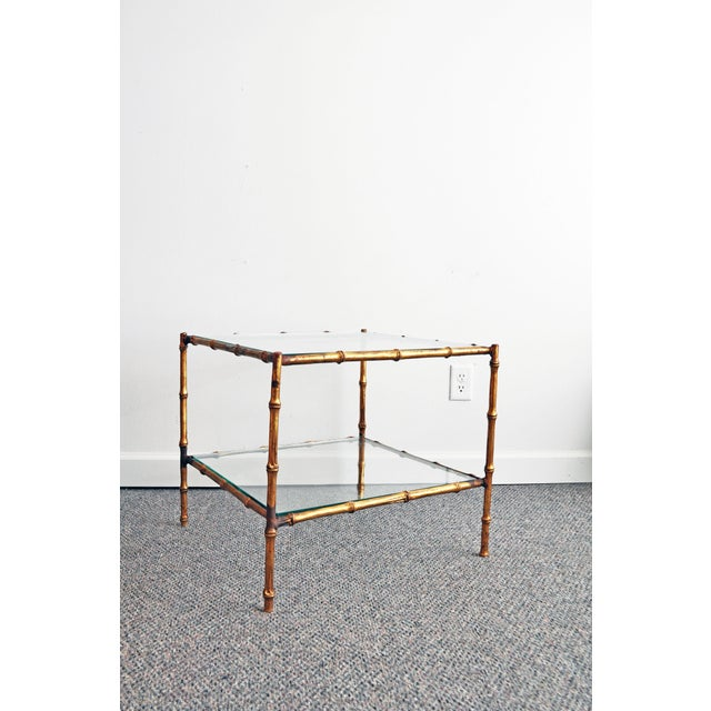 Vintage Italian Gold Gilt Faux Bamboo Table - Image 2 of 11