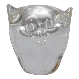 Strauss Art Glass Clear Crystal Owl Paperweight For Sale