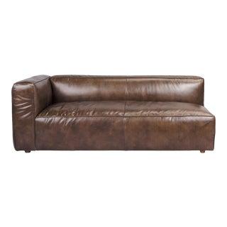Walnut Modern Leather Sofa (Left Arm) For Sale