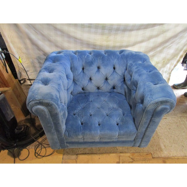 Fabric Vintage Mid Century Tufted Tuxedo Sky Blue Chesterfield Chair For Sale - Image 7 of 7