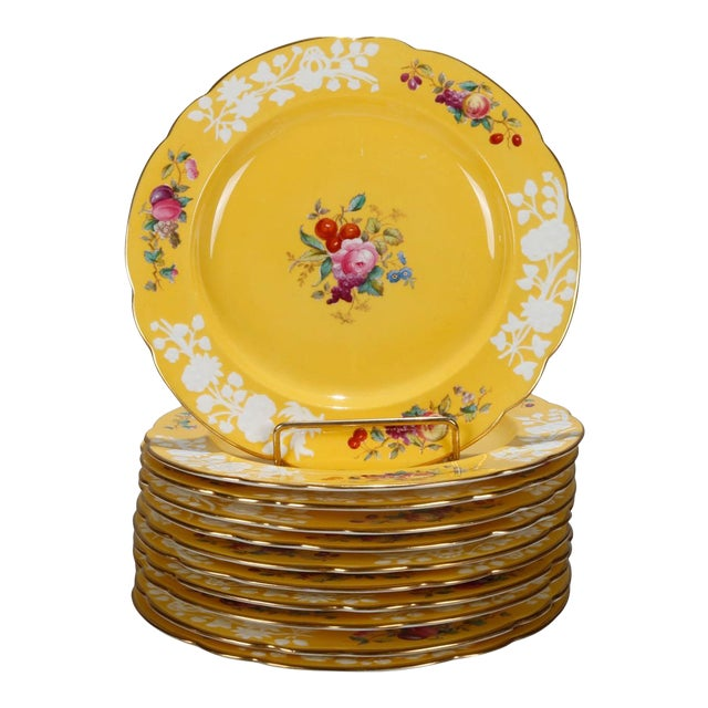 20th Century Copeland for Tiffany Floral Porcelain Luncheon Plates - Set of 12 For Sale