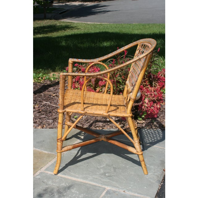 A sweet little wicker child's chair. I think it would give some height to a planter mixed with your container garden. But...