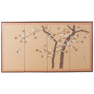 Japanese Four-Panel Screen Spring Cherry Blossom Tree For Sale