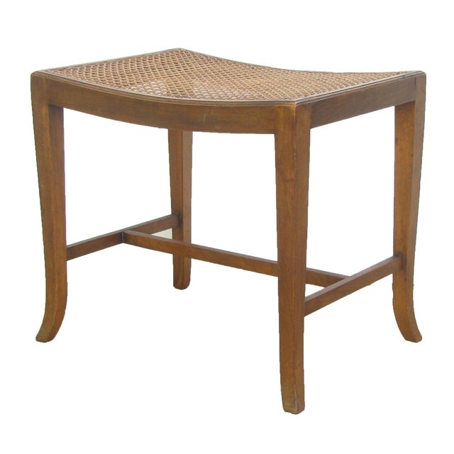 Vintage English Caned Stool For Sale - Image 4 of 4
