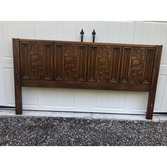 Wood 1970s Brutalist King Sized Headboard For Sale - Image 7 of 8