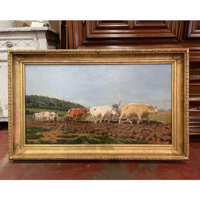 """Mid-19th Century French Oil on Canvas Cows Painting """"Plowing in Nivernais"""" For Sale - Image 13 of 13"""