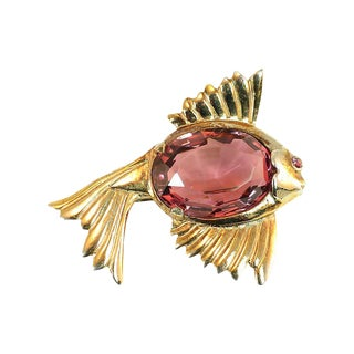 Amethyst Crystal Figural Fish Brooch, 1940s For Sale
