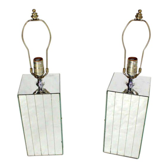Silver Vintage Mid-Century Mirrored Table Lamps - A Pair For Sale - Image 8 of 8