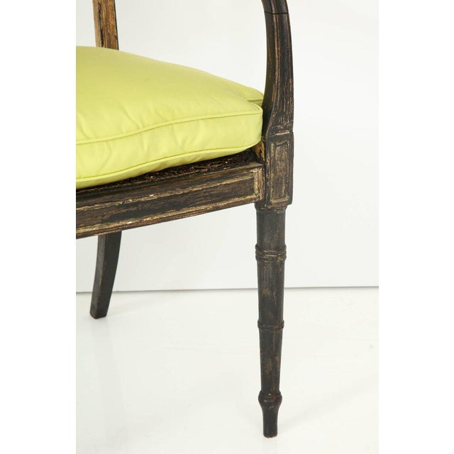 Pair of English Regency Painted and Parcel-Gilt Side Chairs For Sale - Image 9 of 10