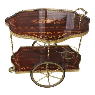 Vintage 20th Century Italian Inlaid Marquetry Drop Leaf Bar Cart,reduced For Sale