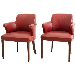Pair of Midcentury Brass Studded Leather Armchairs For Sale