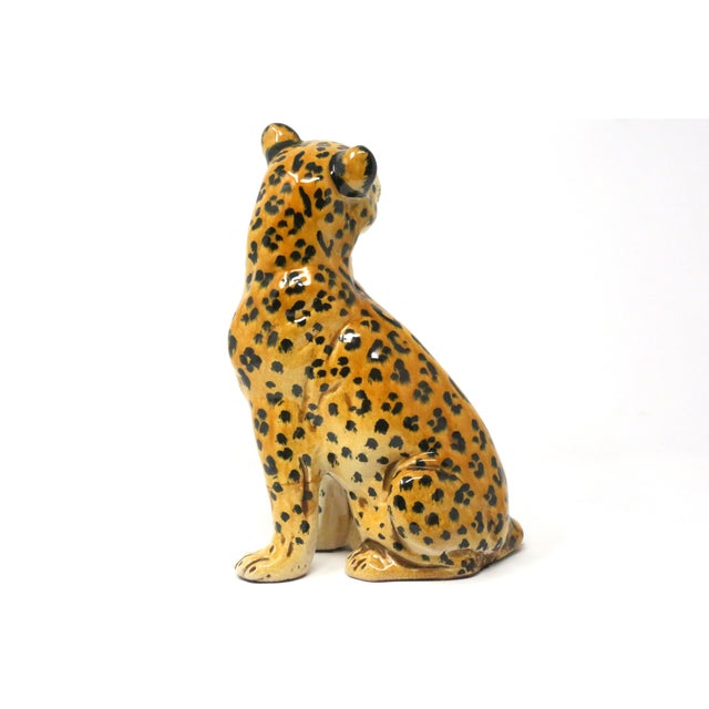 Ceramic Vintage Italian Cheetah Hand-Painted Majolica Ceramic Leopard Figure For Sale - Image 7 of 12