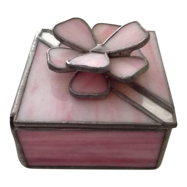 Vintage Pink Stained Glass Jewel Box For Sale