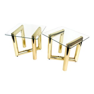 Karl Springer Tubular Brass Z Side Tables - a Pair