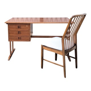 1960s Danish Mid Century Modern Teak Desk Set by Brouer Mobelfrabrik For Sale