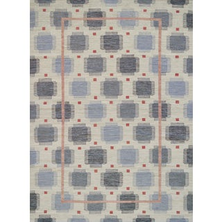 Handwoven Mansour Modern Swedish Lantern Inspired Wool Rug For Sale