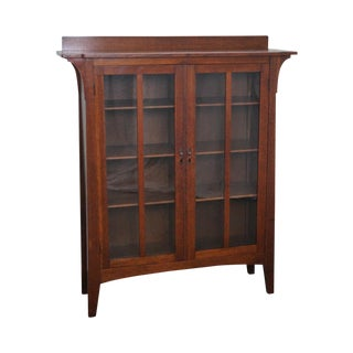 Antique Limbert Mission Oak 2 Door Bookcase For Sale