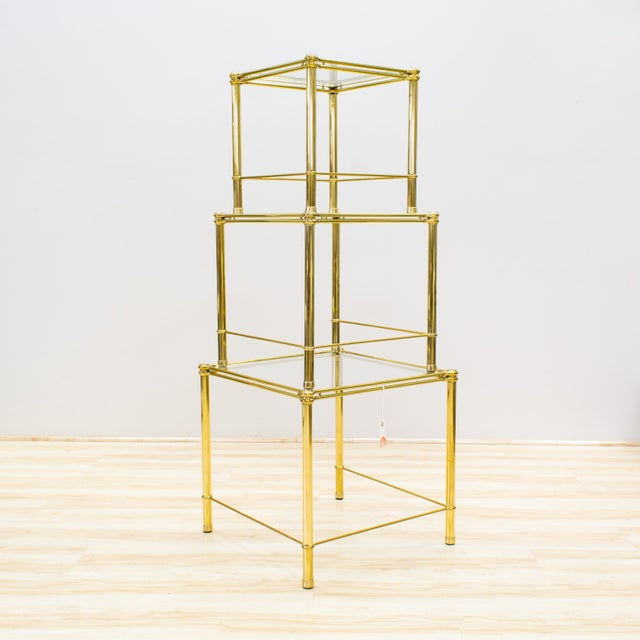 Italian Brass & Glass Nesting Tables - Set of 3 - Image 3 of 11