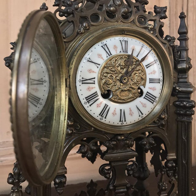 Mantel Clock, 19th Century French Gothic in Bronze For Sale In Dallas - Image 6 of 13