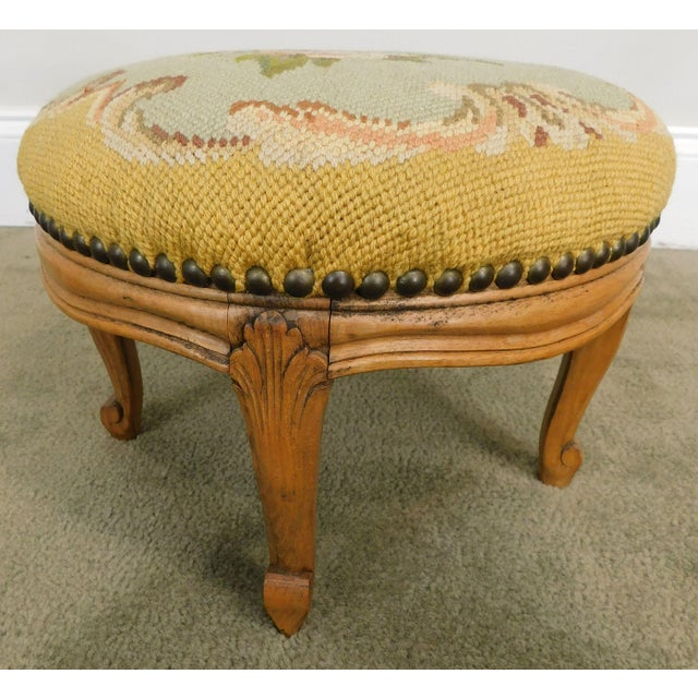 French French Louis XV Style Antique Small Needlepoint Footstool For Sale - Image 3 of 13