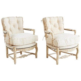 Pair of Country French Painted Fauteuil Armchairs