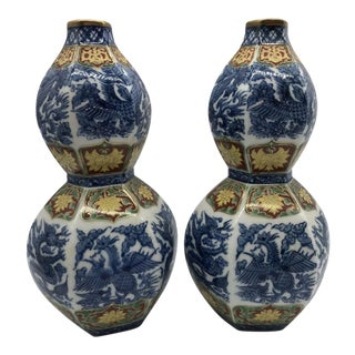 19th Century Antique Porcelain/Cloisonné Double Gourd Vases - a Pair For Sale