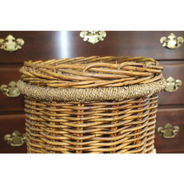 Mid 20th Century 20th Century Country Tall Wicker Basket For Sale - Image 5 of 6