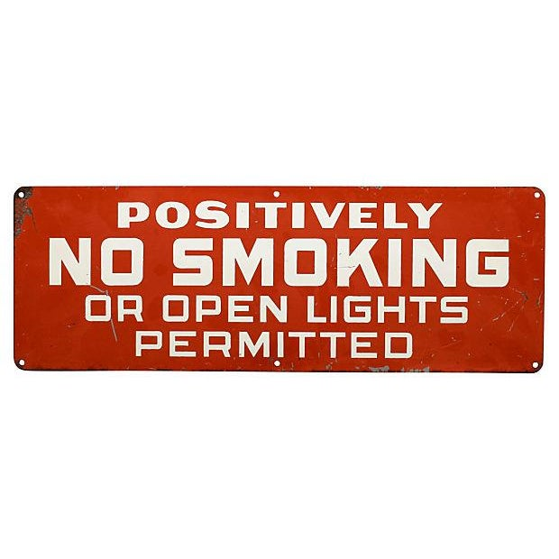 American Positively No Smoking Sign For Sale - Image 3 of 3