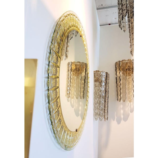 Cristal Arte Cristal Arte Round Mid Century Modern Mirror, Glass Gold Carved Frame For Sale - Image 4 of 6