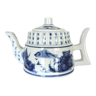 Vintage Hand Painted Blue and White Tea Pot With Chinese Calligraphy For Sale