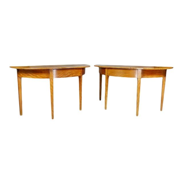 Pair of Neoclassic Birch Demilune Console Tables For Sale