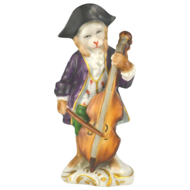 Antique Porcelain Monkey Musician, from Germany, Purple Coat For Sale