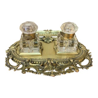 19th Century Cast Bronze & Crystal Inkwell For Sale