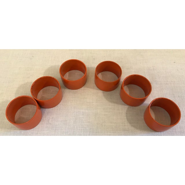 Mid 20th Century Mid-Century Modern Orange Napkin Rings - Set of 6 For Sale - Image 5 of 9