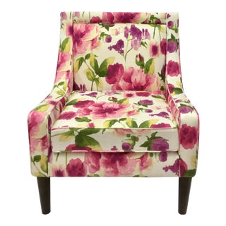 Floral Cotton Canvas Slipper Chair