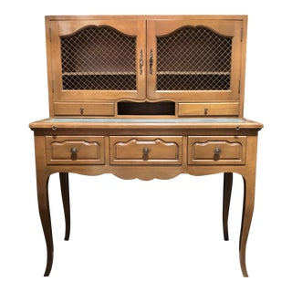 1960s French Provincial Leather Top Ladies Writing Desk For Sale